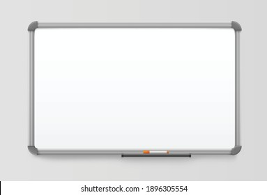 whiteboard realistic board with plastic frame white marker board magnetic noticeboard.eps