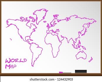Whiteboard World Map Vector