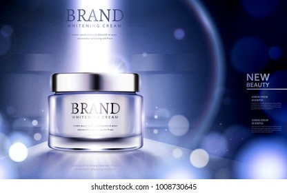 Whitening cream ads, cosmetic product ads with particles and strong light on the container in 3d illustration