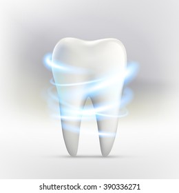 Whitening of human tooth.Vector illustration.
