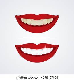 Whitening teeth vector illustration isolated on white background