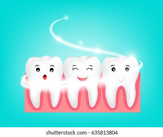 Whitening tooth character. Deep cleaning, clearing tooth process. Dental health concept. Oral Care, teeth restoration. illustration on blue background.