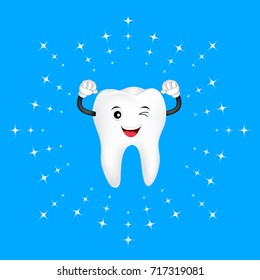 Whitening tooth, cute cartoon character design. Deep cleaning, dental care concept. Illustration isolated on blue background.