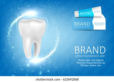 Whitening toothpaste ad. Graphic concept for your design.