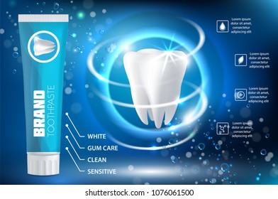 Whitening toothpaste ad poster. Vector realistic toothpaste packaging mock up with your brand on blue background with white sparkling tooth and copy space.