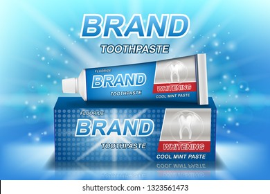 Whitening toothpaste ads isolated on blue. Tooth model and product package design for dental care poster or advertising. 3d Vector illustration.