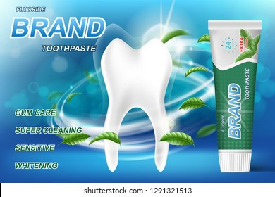Whitening toothpaste ads, mint leaves background. Tooth model and product package design for toothpaste poster or advertising. 3d Vector illustration.