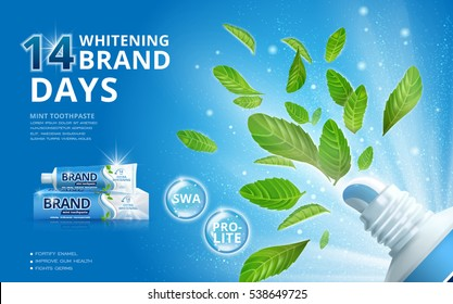 Whitening toothpaste ads, mint leaves flying out from a toothpaste package with sparkling effect on the background in 3d illustration