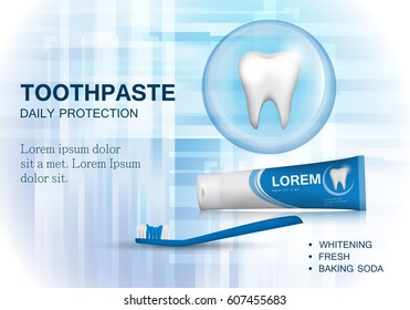 Whitening toothpaste ads,isolated on blue backdrop.Long lasting flavour toothpaste.Blue toothbrush isolated on background.Tooth model and product package,for web site,poster,placard,flyer and leaflet