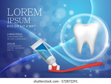 Whitening toothpaste ads,isolated on wavy background.Vector illustration,long lasting mint flavour toothpaste on red toothbrush with sparkling effect.Tooth model and product package,graphic design