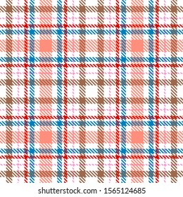 White,Pink,Blue,Red and Brown Tartan Plaid Scottish Seamless Pattern. Texture from tartan, plaid, tablecloths, shirts, clothes, dresses, bedding, blankets and other textile.