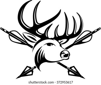 whitetail buck head with crossing hunting arrows