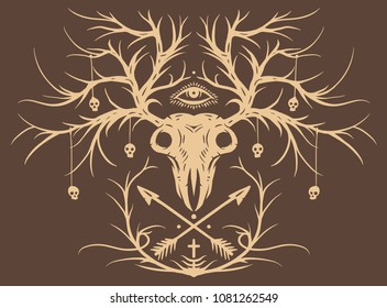Whitetail buck skull with crossing hunting arrows , vector illustration Eps 10 T-shirt design.