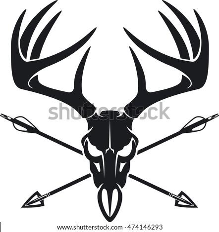 Whitetail Buck Skull Crossing Hunting Arrows Stock Vector Royalty