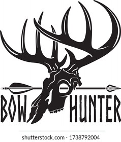whitetail deer buck skull, hunting arrow and text bow hunter