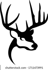 Whitetail Deer Logo. Great for Hunting & Outdoor Logo, Decals & Sticker.