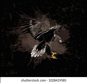 White-tailed Sea Eagle    - Bird of Prey - grunge art