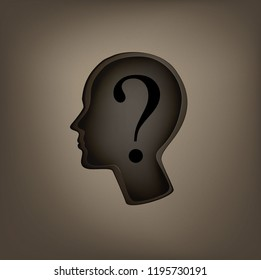 who am I? concept, man profile with question sign inside, incognito idea,   identity concept, vector,