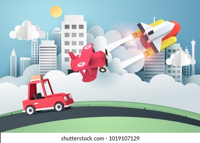 Who is faster, Paper art of space shuttle, air plane and car launch and race at the city,  marketing and start up business idea, vector art and illustration.