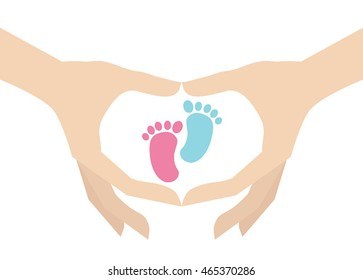 Who have a boy or a girl. Hands holding kids footprint symbol.
