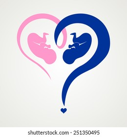 Who have a boy or a girl.  Heart question mark isolated on White background. Vector illustration