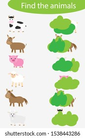 Who are hidding, matching game with farm animals for children, fun education game for kids, educational task for the development of logical thinking, preschool worksheet activity, vector illustration