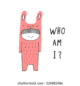 Who Am I, Boy in a rabbit costume, hand drawn vector illustration