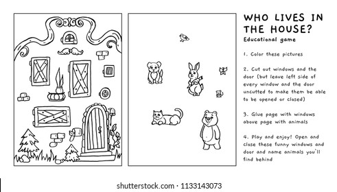 Who lives in the house - educational game for children. Learning animals, coloring, cutting and gluing activity. Black and white vector hand drawn illustration. Printable worksheet