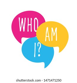 Who am i ? on speech bubble