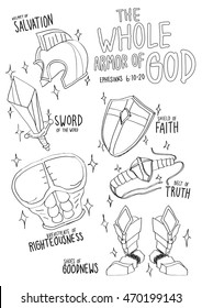 the Whole armor of God from Holy bible for coloring classroom.
