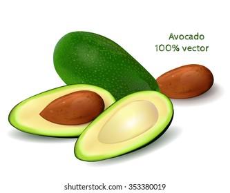 Whole avocado and half of avocado on white background. Vector illustration.