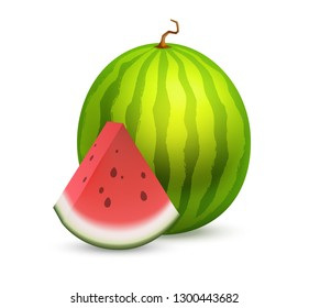Whole beautiful Watermelon with a slice section of ripe fruit. Great vector icon of tasty fruit isolated on white.