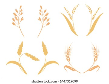 whole bread grains or field cereal nutritious rye grained agriculture products ear. Symbols for logo design Wheat. Agriculture, corn, barley, stalks, organic plants, bread, food natural harvest