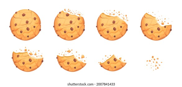 Whole, broken and bitten cookie with chocolate crisps. Round homemade chip biscuit, delicious pastry snack crumbs, bakery bite dessert vector illustration isolated on white background