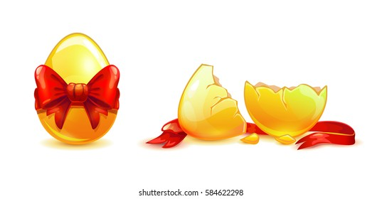 Whole and broken golden egg with red ribbon. Vector illustration. Isolated objects on white.