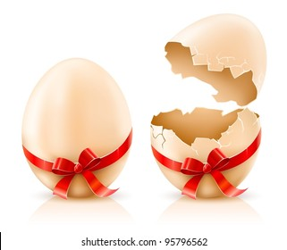 whole and broken shells of easter eggs with red bow vector illustration isolated on white background gradient mesh used