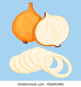 Whole bulb onion, half and onion rings isolated on blue background. Vector illustration.