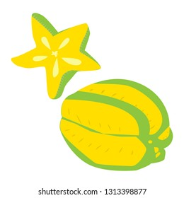 Whole carambola or starfruit in section simple vector flat isolated on white