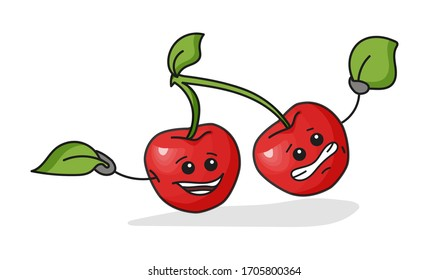 Whole cherry berry with leaf. Vector flat cartoon color icon with emotions. For menu, poster, label. Isolated on white background. Hand drawn sketch comic style