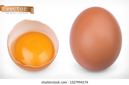 Whole chicken egg and broken egg with yolk. 3d realistic vector icon set