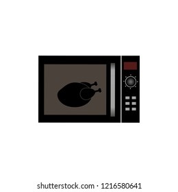 Whole chicken grilling in microwave. Thanksgiving turkey. Isolated vector illustration