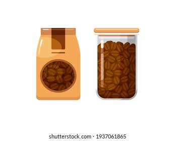 Whole coffee beans in paper packaging and food storage container. Set of vector colorful flat illustrations isolated on white background