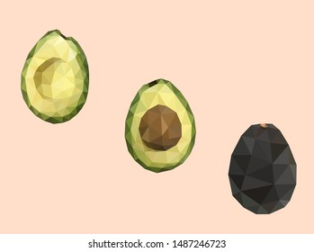 Whole and cut in half avocado fruits low polygonal design