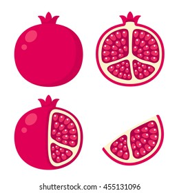 Whole and cut pomegranate icon set. Flat cartoon vector illustration.