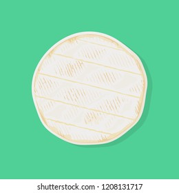 Whole cylinder of fresh camembert de Normandie cheese, top view. Traditional french dairy product. Vector hand drawn illustration.
