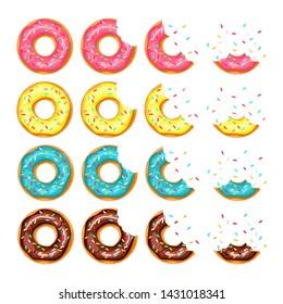 whole donut and half-eaten donut with pink, chocolate, lemon, blue mint glaze. vector illustration