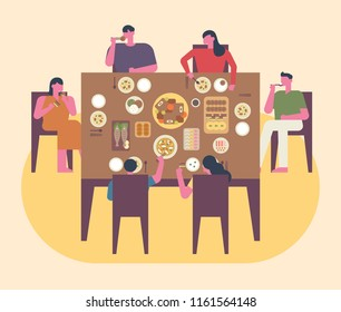 The whole family is having a meal on a special day. flat design style vector graphic illustration set