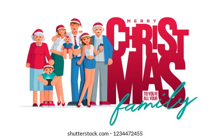 The whole family is together at Christmas. Grandmother, grandfather, mother, father son and daughter together. Poster  design. Elements are layered separately. Isolated on white background. - Shutterstock ID 1234472455