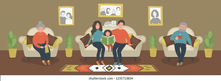 Whole family together. Mother, father, grandmother, grandfather and daughter spending time together. Home education concept. Vector illustration.