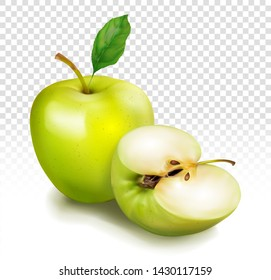 Whole green apple and cut in half. Fruit with leaves. Vector realistic illustration isolated on transparent background.